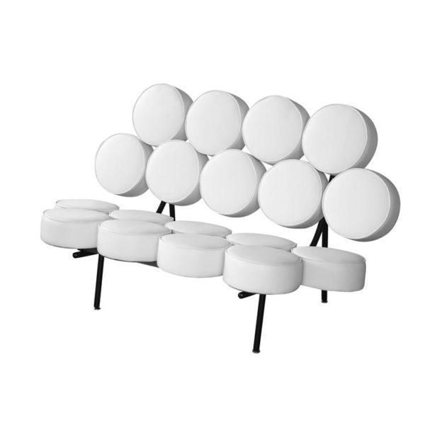 Astonishing Nelson Style Marshmallow Circle Sofa In White Leather Dailytribune Chair Design For Home Dailytribuneorg