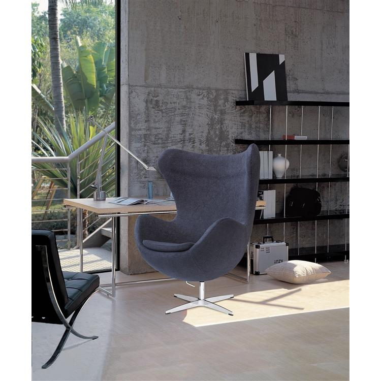 Arne Jacobsen Egg Chair In Charcoal Black Wool