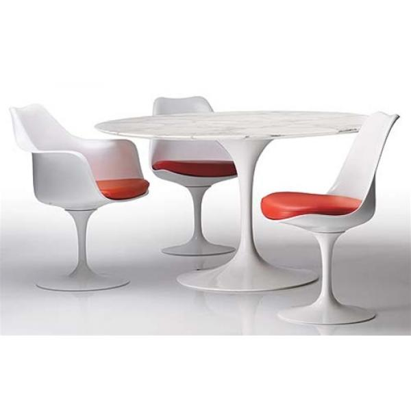 a558eca52953a Eero Saarinen Style Tulip Marble Dining Set 32″ Table and 4 Chairs ...