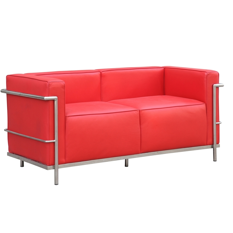 Lc3 Grand Loveseat In Red Leather