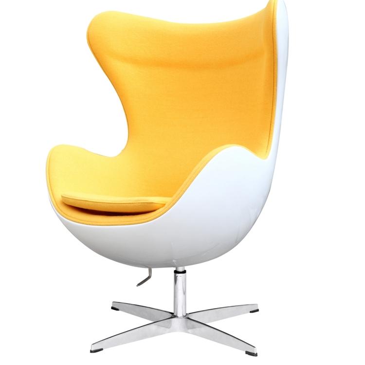 Arne Jacobsen Egg Chair.Arne Jacobsen Fiberglass Fiesta Egg Chair In Yellow Wool