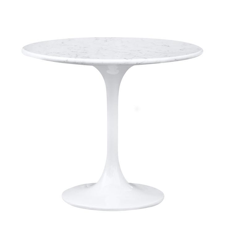 Eero Saarinen Style Tulip End Side Table White Marble Top